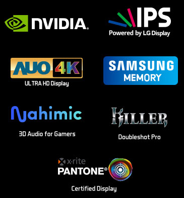Logos for NVIDIA, IPS powered by LG Display, AUO 4K Ultra HD Display, Samsung Memory, Nahimic 3D Audio for Gamers, Killer Doubleshot Pro and x-rite PANTONE Certified Display