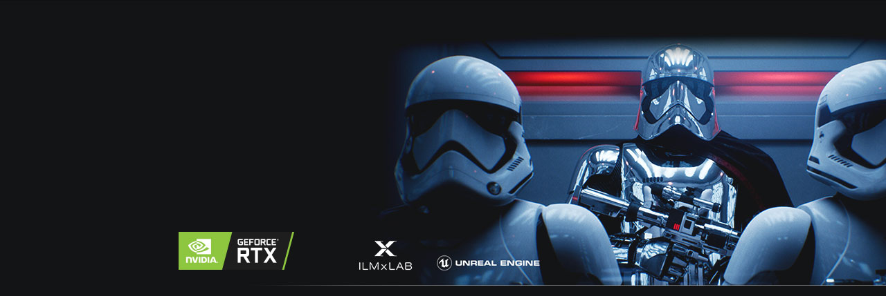 three robots as background with NVIDIA icon, ILM x LAB icon, UNREAL ENGINE icon