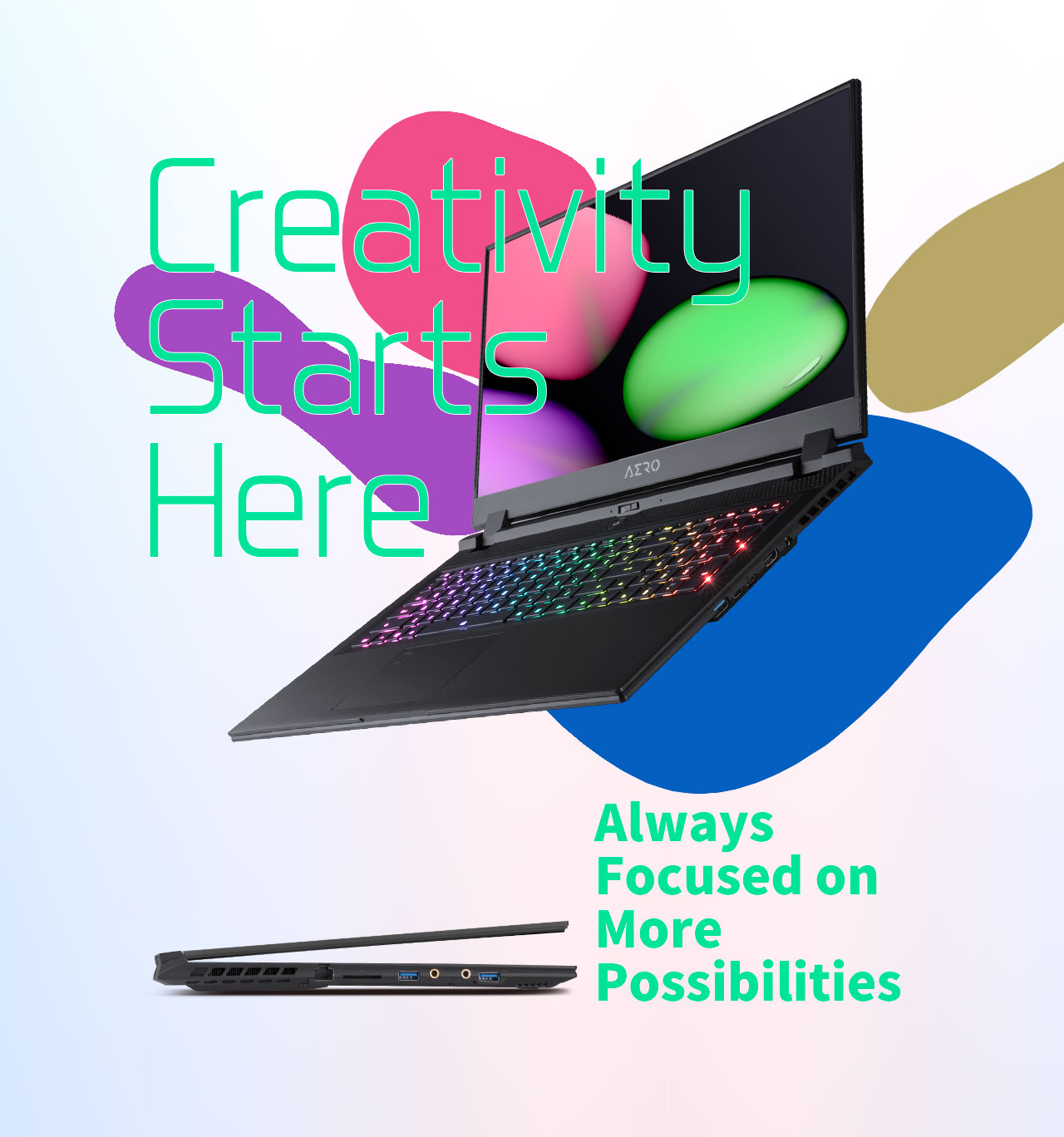 a laptop in a colorful background