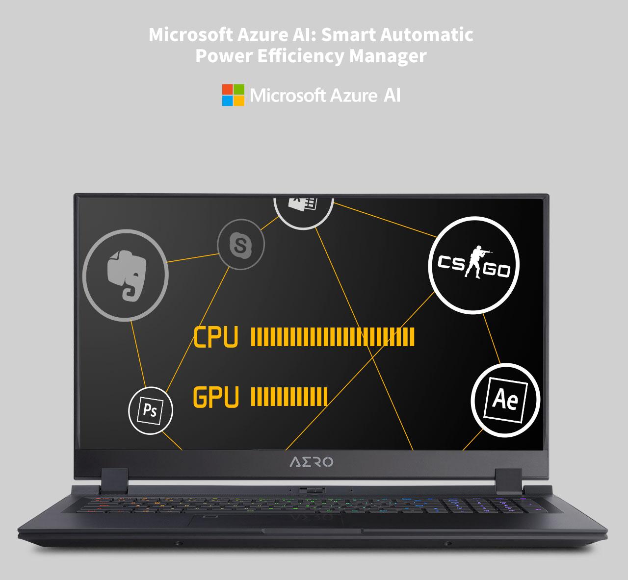 Microsoft Azure AI LOGO and a laptop facing front