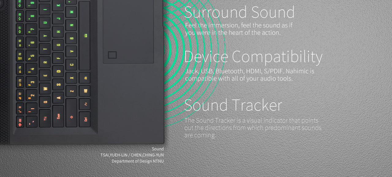surround sound, device compatibility, sound tracker of the laptop