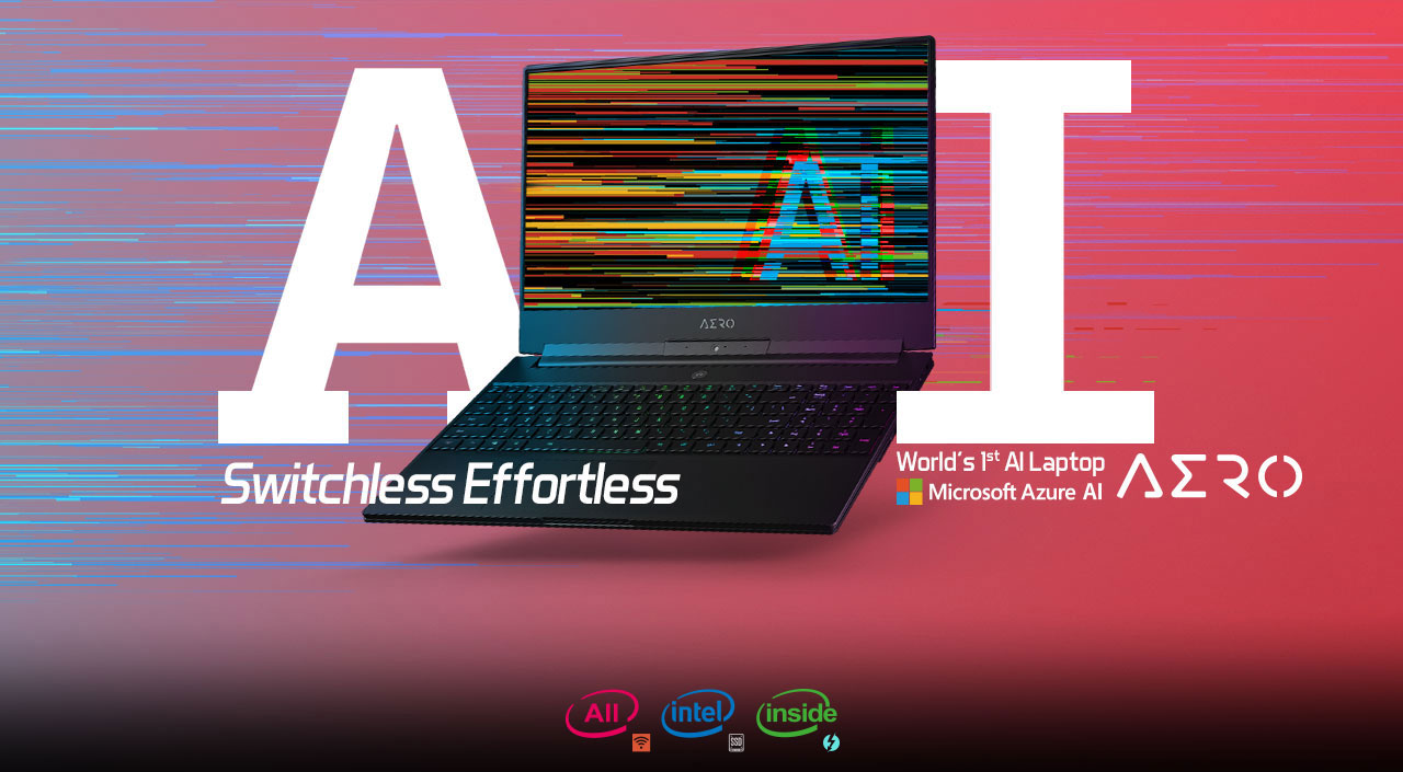 the laptop with a colorful image as screen showing AI