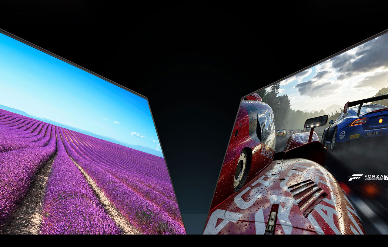 one laptop with a flower field as screen and a racing car image as screen of the other laptop