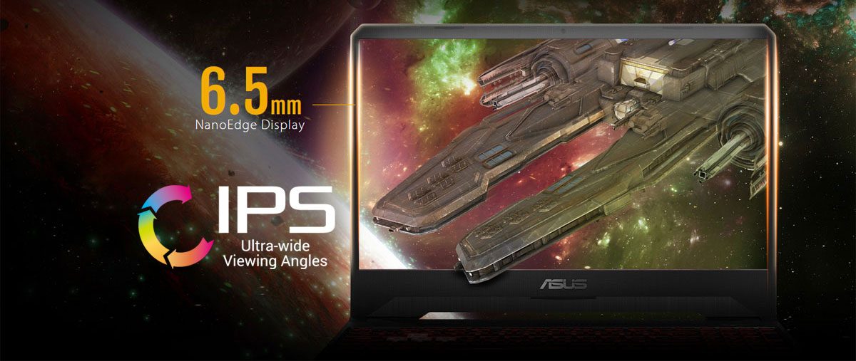 Front view of the ASUS TUF Gaming FX505 screen, with a space ship on the screen and some Galaxy in the background