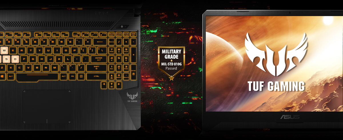 "On the left is the top view of a backlit keyboard, in the middle is a shield logo with texts within reading as ""Military Grade MIL-STD 810G Passed"", and on the right is the front view of the laptop screen which shows the logo of ""TUF Gaming"""