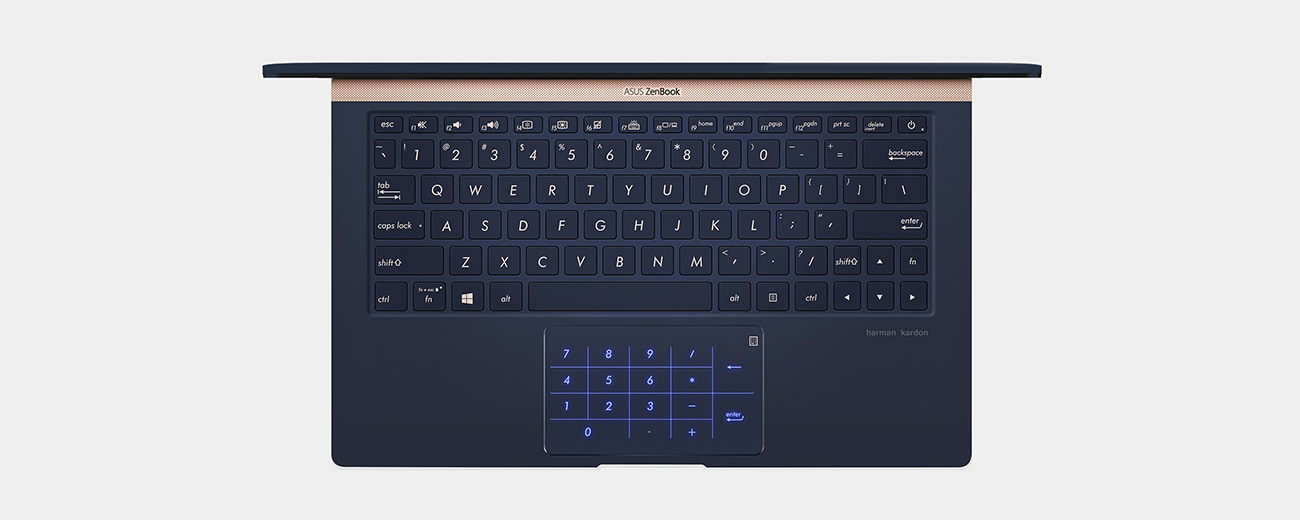 An opened laptop has its keyboard shown in close-up to display the touchpad in numeric keypad mode.