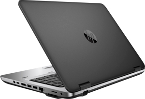 Rear angle view of an opened HP ProBook 640 G2, showing an HP logo in the center of outside of upper lid