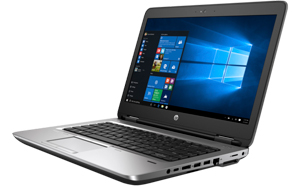 Front right angle view of an opened HP ProBook 640 G2, with screen showing Windows 10 home screen and Start menu