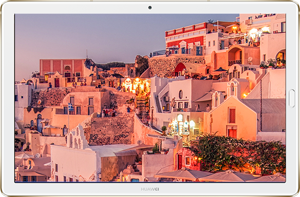 HUAWEI MediaPad M5 Showing an Image of a Greek Cliffside Residential Area at Dusk
