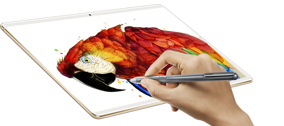HUAWEI MediaPad M5 showing a digital painting of a parrot that a hand with a pen is working on