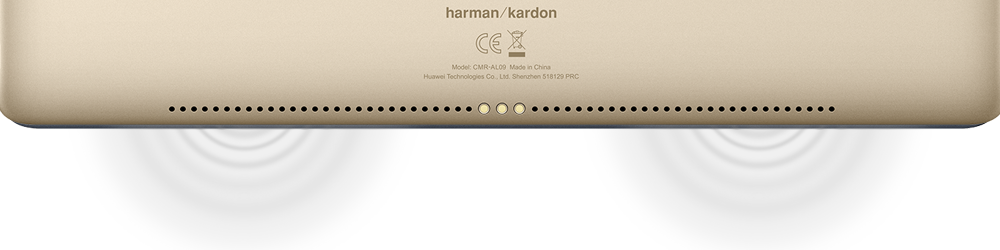 Closeup of the speakers on the bottom back of the HUAWEI MediaPad M5