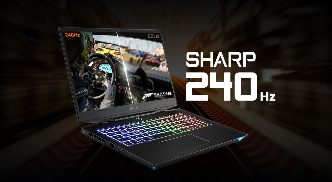 AORUS 15 Gaming Laptop open, angled to the left showing the inside of a racecar during a Forza race, all next to text that reads: SHARP 240Hz