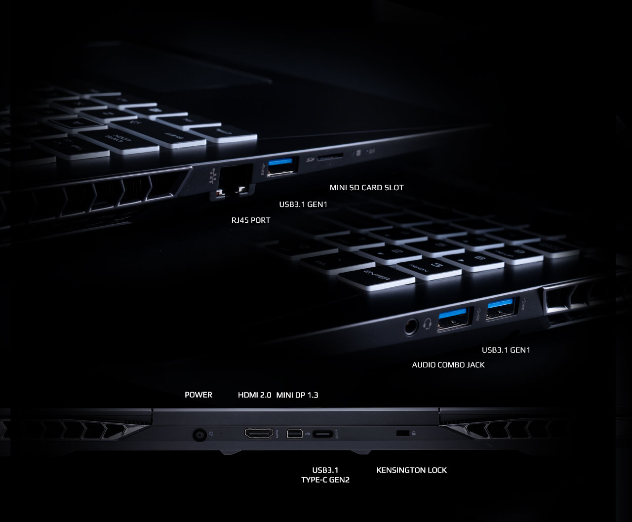 Ports on three sides (left, right and back) of the AORUS 15 Gaming Laptop
