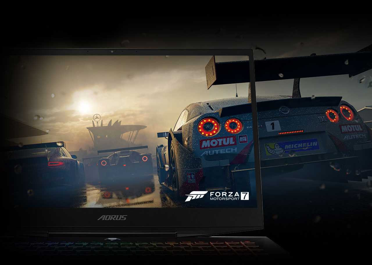 Forza screenshot of cars racing at dusk merging with the AORUS 15 Gaming Laptop's screen