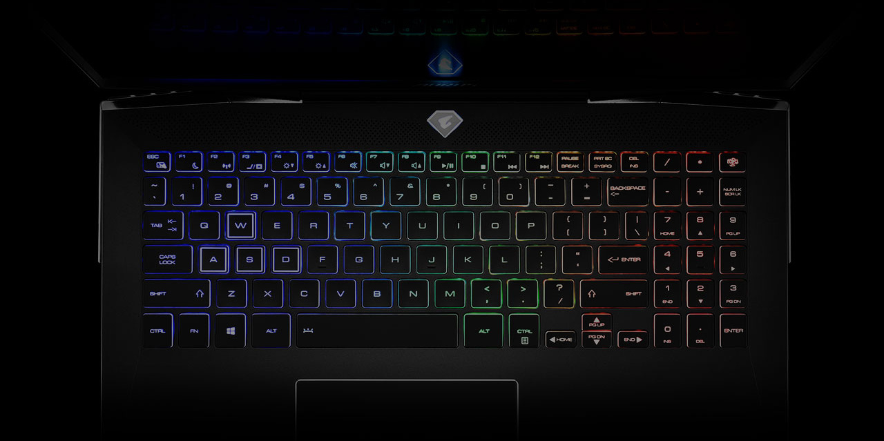 overhead view of the AORUS 15 Gaming Laptop's rainbow RGB-lit keyboard