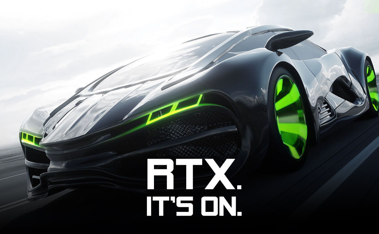 A futuristic sports car with light green accents in its grill and on its rims speeding through to the left, along with text that reads: RTX. IT'S ON.