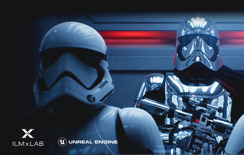 Stormtrooper on an elevator facing forward with the badges for ILMxLAB and Unreal Engine at the forefront