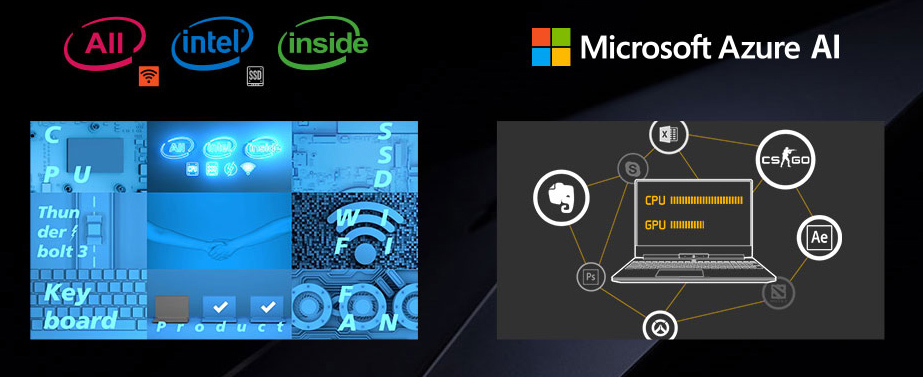 mobile-size image of All Intel Inside banner and Microsoft Azure AI banner