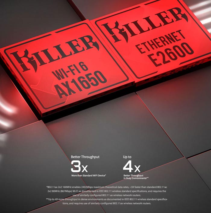 Killer Ethernet E2600 + Killer Wi-Fi 6 AX1650