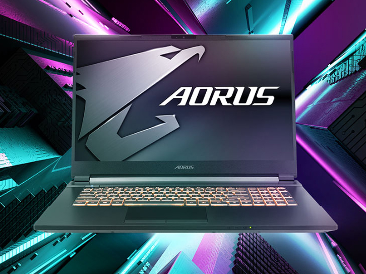 Two Aorus 7 gaming laptops opened widely, back to back.