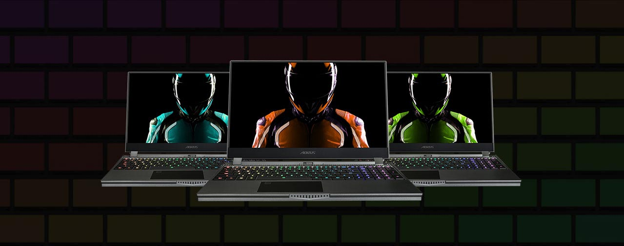 3 Aorus 15G on the image. Different color racers onthe screen.