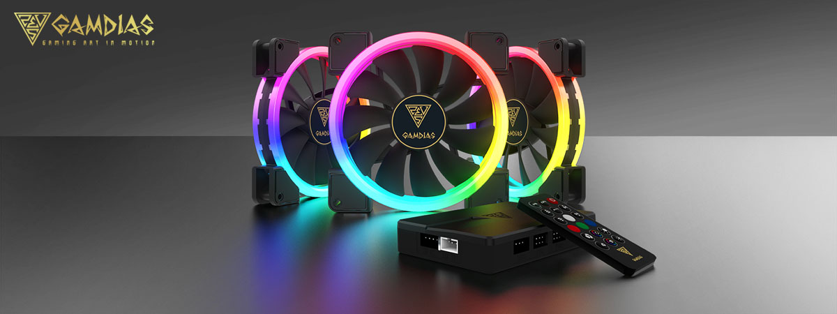 GAMDIAS AEOLUS M1-1403R 140 MM RGB 3 in 1 Fan Pack with Controller and Remote 3