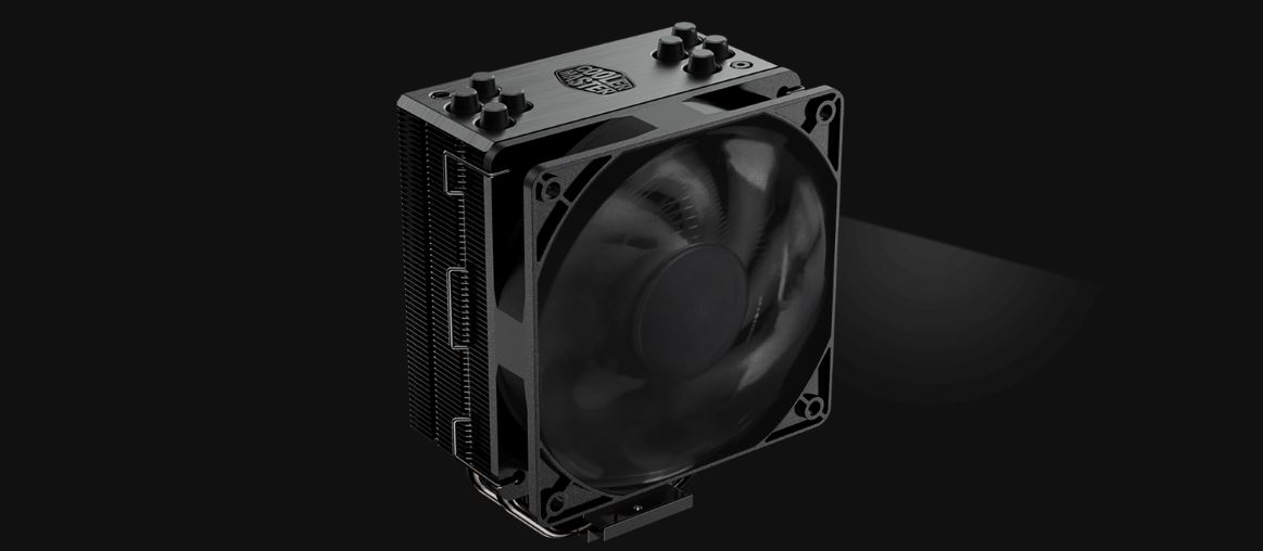 COOLER MASTER HYPER 212 BLACK EDITION CPU Cooler Facing to the Right with its fan spinning