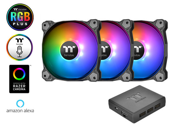 Thermaltake Pure Plus 12 RGB TT Premium Edition 120mm Software Enabled  Circular 9 Controllable LEDs PWM Case/Radiator Fan - Triple Pack -