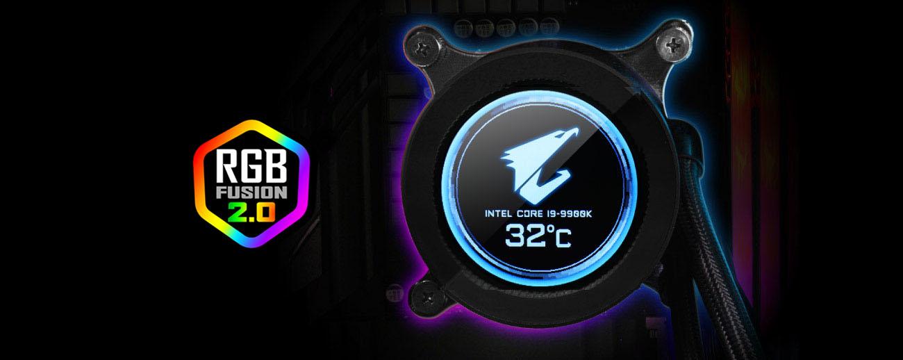 the LCD display showing CPU status and AORUS Falcon logo