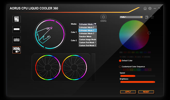 the interface of RGB FUSION 2.0