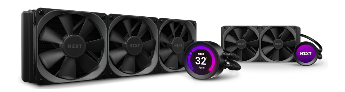 two Kraken Z Series liquid coolers against a purple background