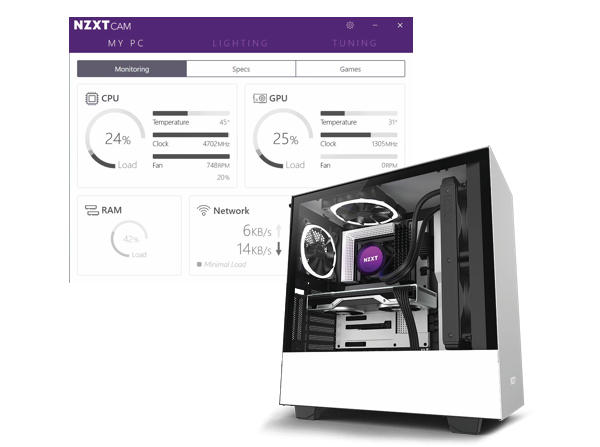 interface of CAM beside a NZXT whtie tower case