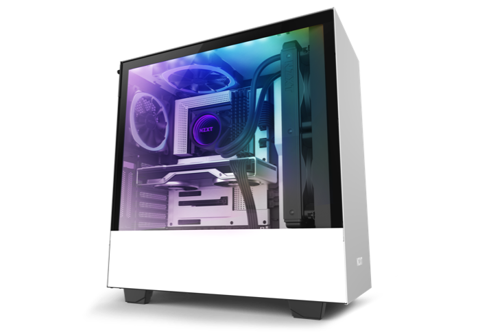 a NZXT tower case showing RGB effects insdie