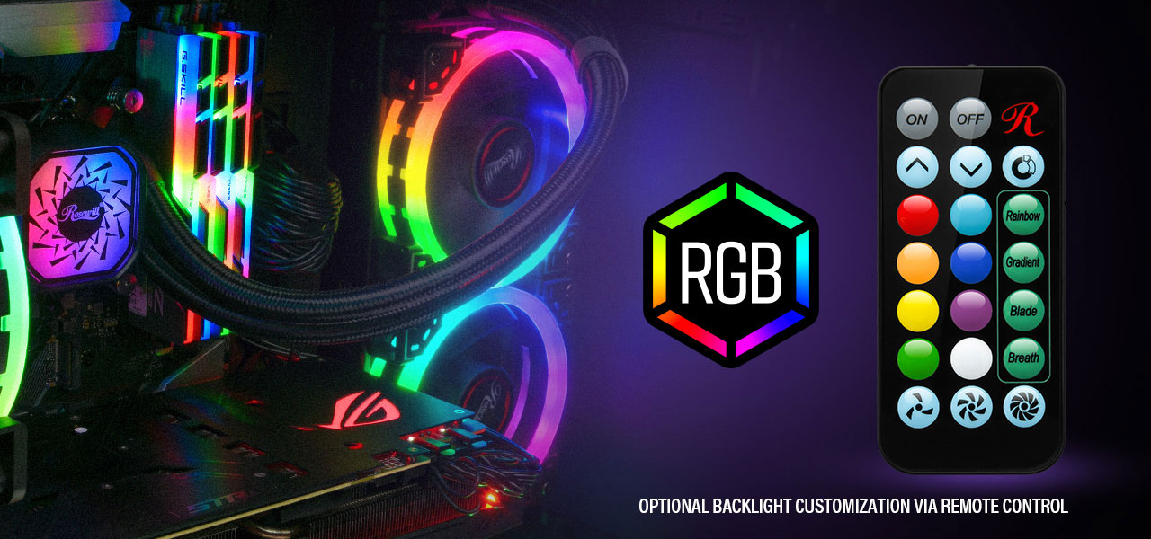 Rosewill PB240-RGB lit up on a fully stocked motherboard that has RGB-lit G.Skill memory and a red-lit ASUS graphics card