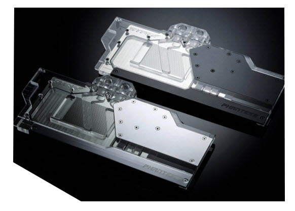 Two Phanteks Glacier GPU Block Angled Up to the Left