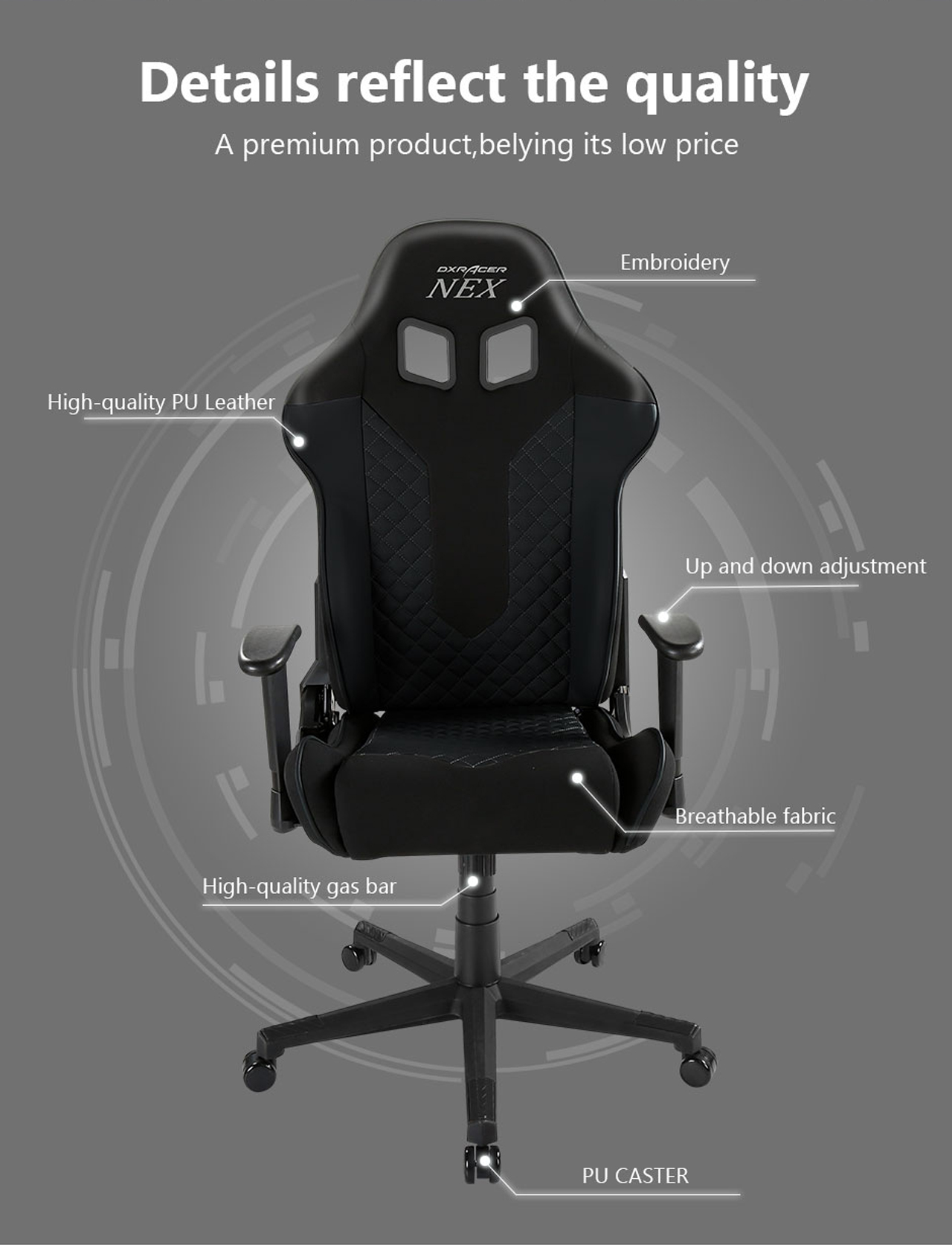 Dxracer Nex Ec Ok01 Nr Racing Bucket Seat Office Chair