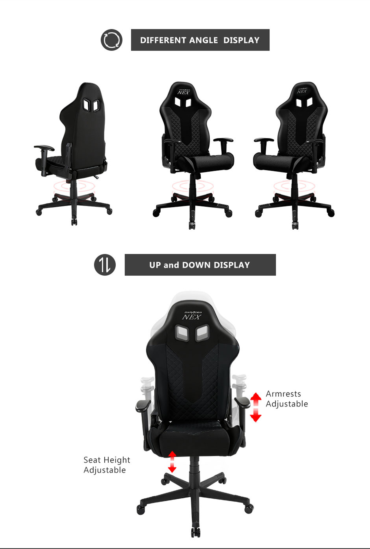 Dxracer Nex Ec Ok01 Nr Racing Bucket Seat Office Chair