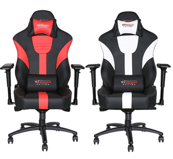 GT Omega MASTER XL Racing Office Chair Black and White Leather