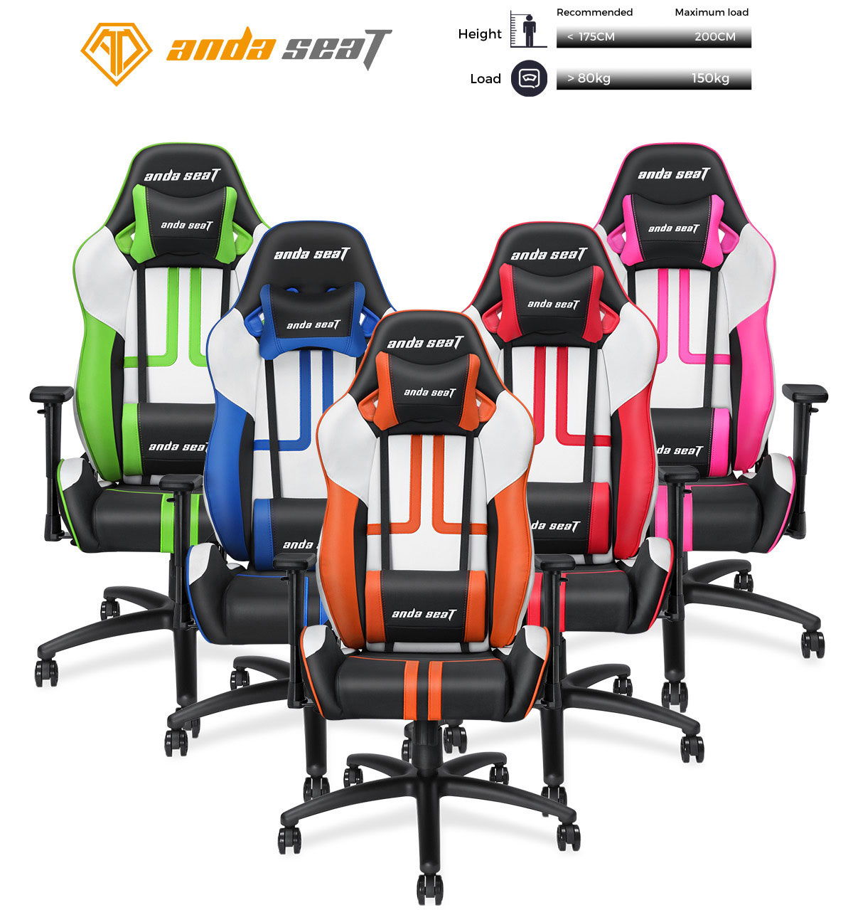 Super Anda Seat Viper Series Large Size Gaming Chair Swivel Rocker Tilt E Sports Recliner Office Chair With Pillows Black White Green Ad7 05 Bwe Pv Bralicious Painted Fabric Chair Ideas Braliciousco