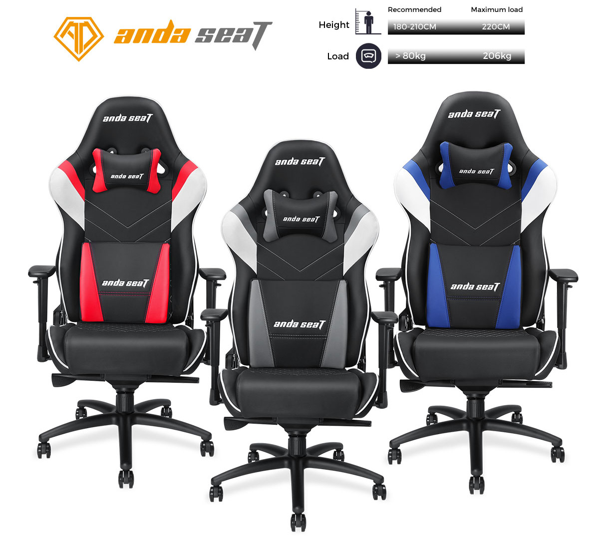 Superb Anda Seat Assassin King Series Big And Tall Gaming Chair High Back Desk And Office Chair 400Lb With Lumbar Support And Headrest Black White Grey Ncnpc Chair Design For Home Ncnpcorg