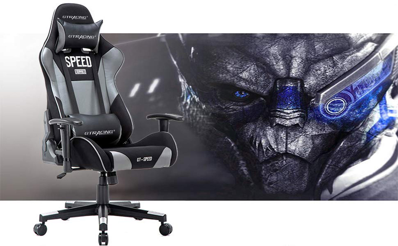 Super Gtracing Ergonomic Office Chair Racing Chair Backrest And Seat Height Adjustment Computer Chair With Pillows Recliner Swivel Rocker Tilt E Sports Bralicious Painted Fabric Chair Ideas Braliciousco