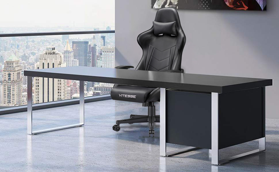 Fantastic Vitesse Gaming Office Chair With Carbon Fiber Design High Back Racing Style Seat Swivel Lumbar Support And Headrest Black Gmtry Best Dining Table And Chair Ideas Images Gmtryco