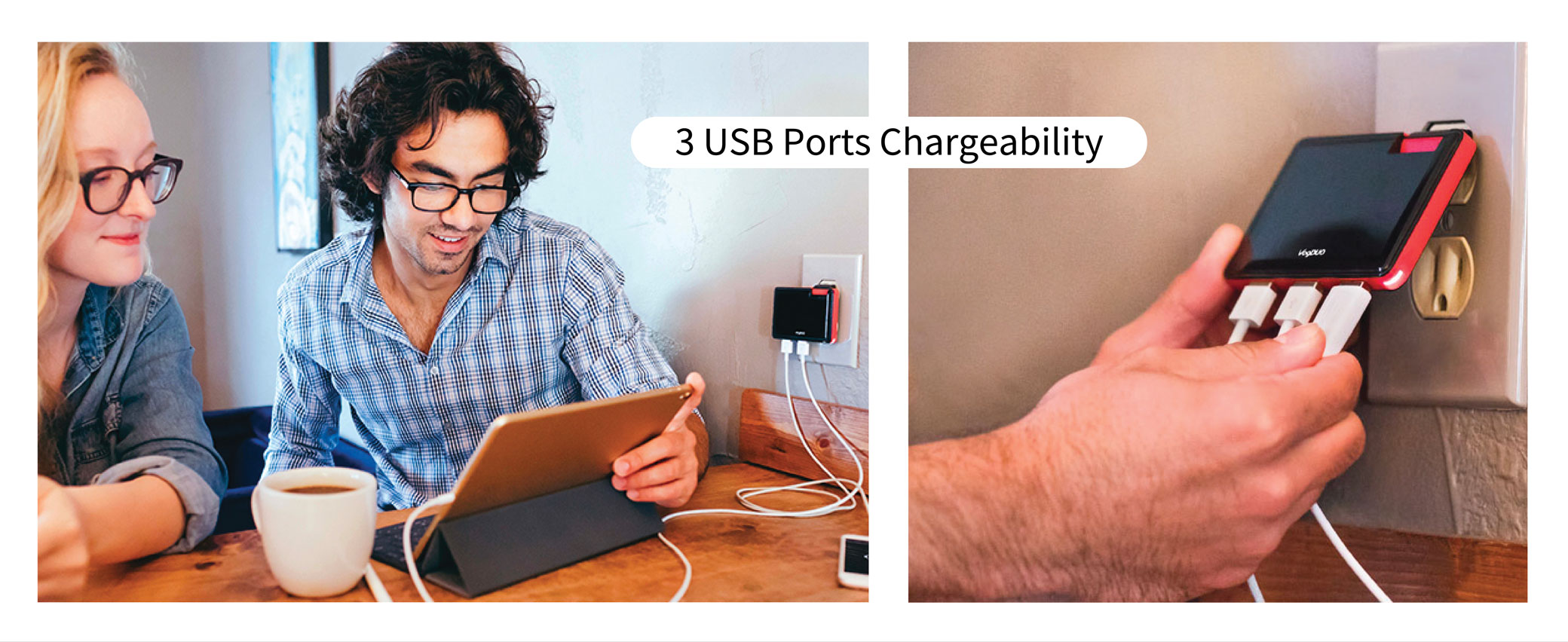 VogDUO Black 3 Ports USB Quick Charge Wall Charger