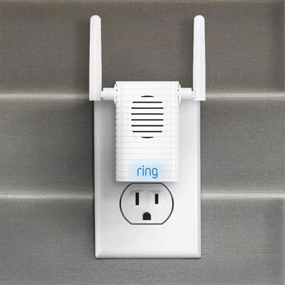 The front view of the Chime Pro plugged into a wall outlet