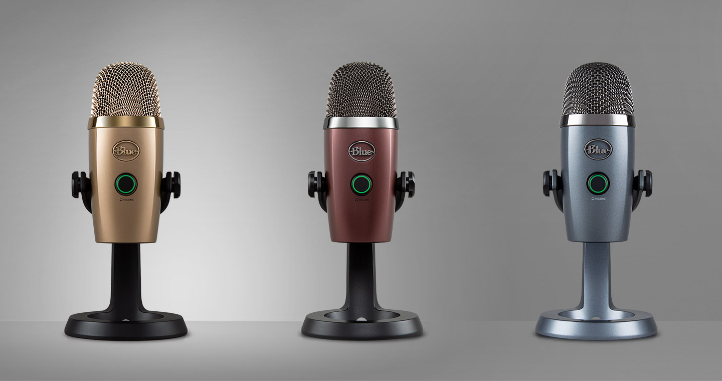 Three Yeti Nano Mics, One Gold, One Red and One Gray
