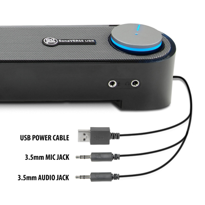 GOgroove UBR PC Computer Speaker Soundbar 6 Watts with Angled Design, 3 5  mm Headphone + Microphone Jack and One Button Volume - Works with Dell, HP,
