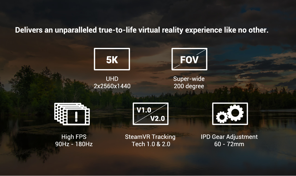Pimax 5K Plus VR Virtual Reality Headset with Wide 200°FOV, Dual 2560x1440p  RGB LCD Panels & 6 DOF Tracking, 1-Year Warranty [Headset Only] -