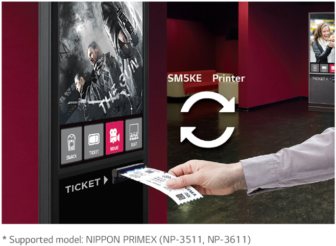 LG commercial display working as a movie ticket dispenser touchscreen kiosk