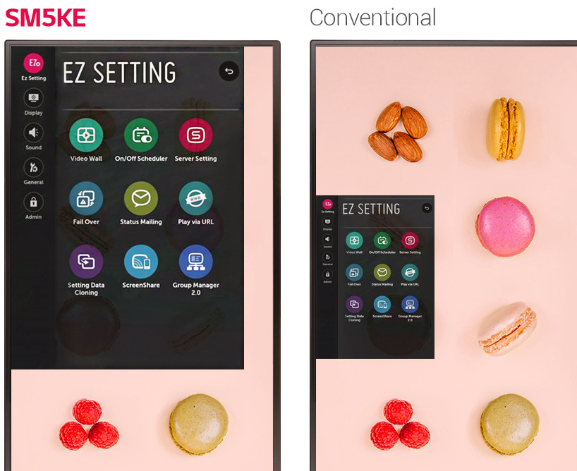 LG commercial displays in vertical alignment showing SM5KE series versus conventional