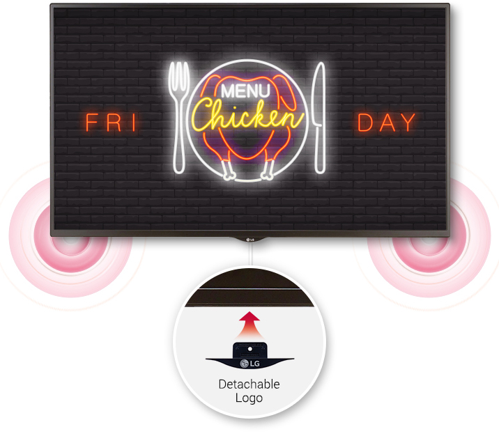 LG commercial display showing a restaurant ad for friday chicken